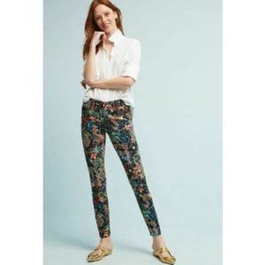 NEW Anthropologie Mid Rise Skinny Floral Jeans 32
